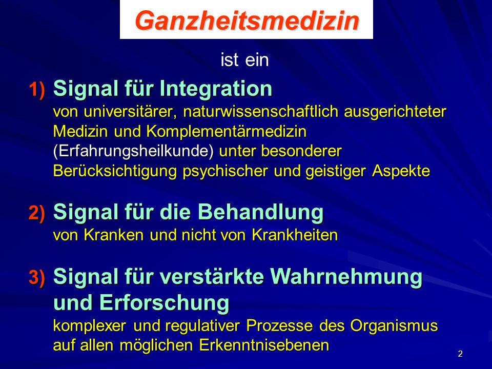 2Ganzheitsmedizin 1) Signal für Integration von universitärer, naturwissenschaftlich ausgerichteter Medizin und Komplementärmedizin (Erfahrungsheilkun
