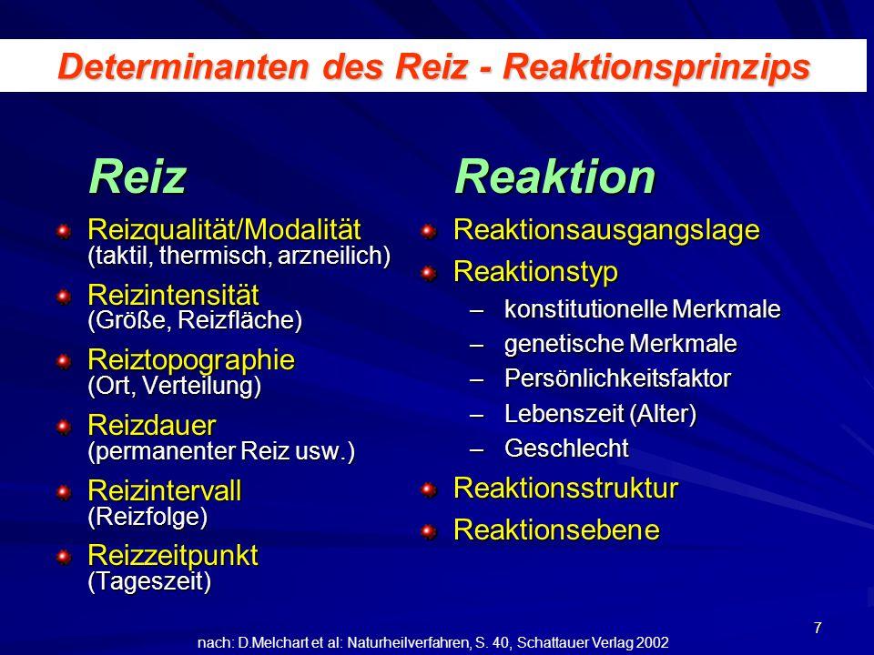 7 Determinanten des Reiz - Reaktionsprinzips Reiz Reizqualität/Modalität (taktil, thermisch, arzneilich) Reizintensität (Größe, Reizfläche) Reiztopogr