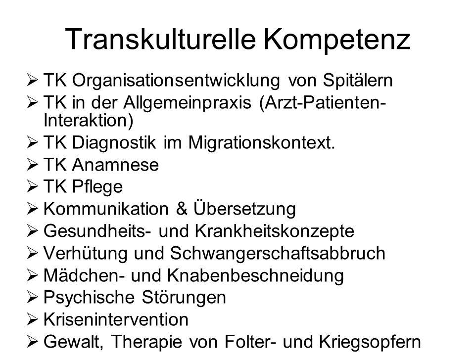 Transkulturelle Kompetenz TK Organisationsentwicklung von Spitälern TK in der Allgemeinpraxis (Arzt-Patienten- Interaktion) TK Diagnostik im Migration