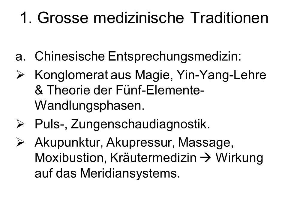 1. Grosse medizinische Traditionen a.Chinesische Entsprechungsmedizin: Konglomerat aus Magie, Yin-Yang-Lehre & Theorie der Fünf-Elemente- Wandlungspha