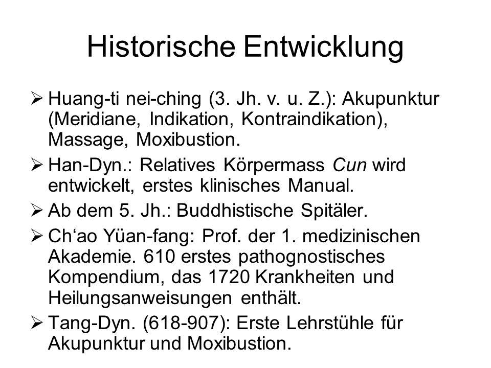 Historische Entwicklung Huang-ti nei-ching (3. Jh. v. u. Z.): Akupunktur (Meridiane, Indikation, Kontraindikation), Massage, Moxibustion. Han-Dyn.: Re