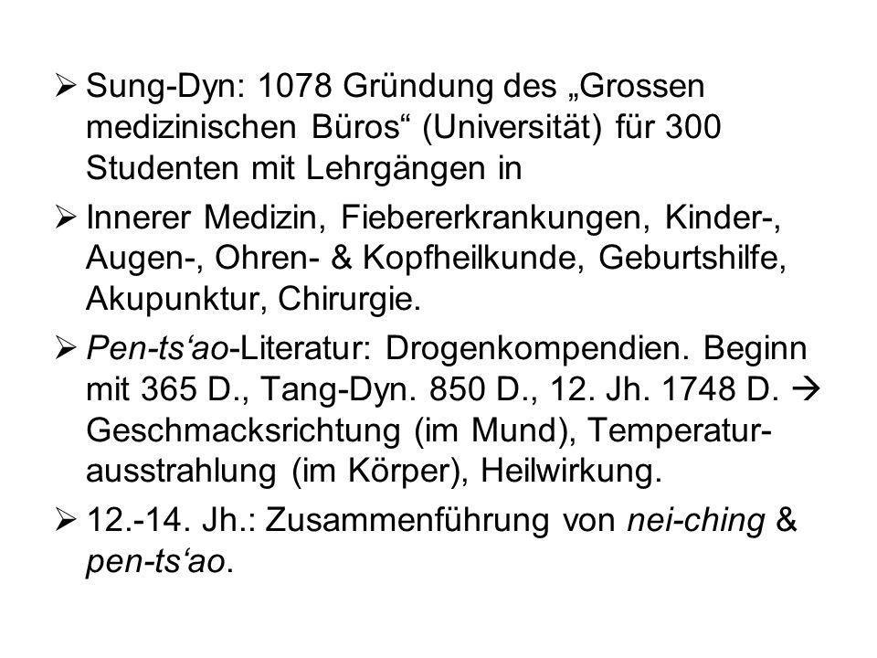 Sung-Dyn: 1078 Gründung des Grossen medizinischen Büros (Universität) für 300 Studenten mit Lehrgängen in Innerer Medizin, Fiebererkrankungen, Kinder-