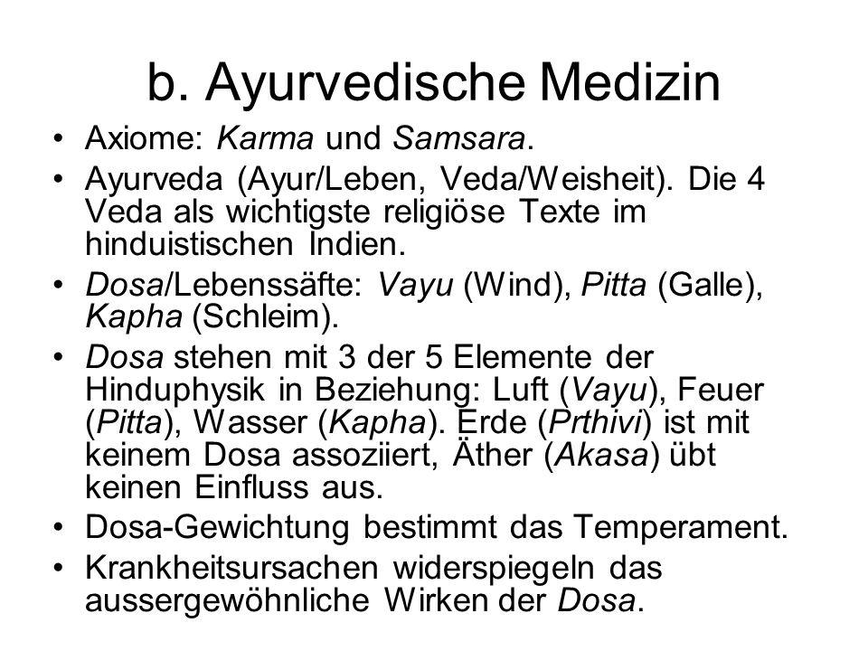 b. Ayurvedische Medizin Axiome: Karma und Samsara. Ayurveda (Ayur/Leben, Veda/Weisheit). Die 4 Veda als wichtigste religiöse Texte im hinduistischen I
