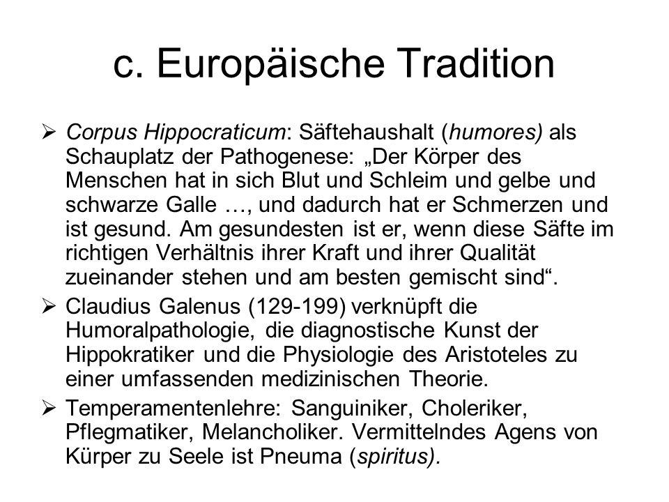 c. Europäische Tradition Corpus Hippocraticum: Säftehaushalt (humores) als Schauplatz der Pathogenese: Der Körper des Menschen hat in sich Blut und Sc