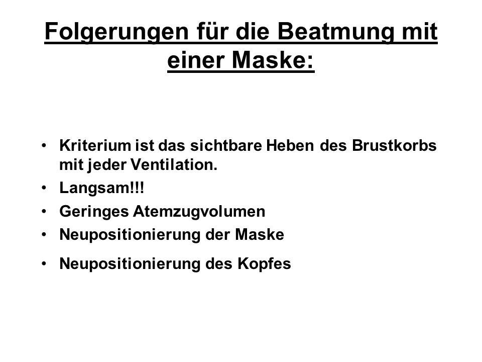 Folgerungen für die Beatmung mit einer Maske: Kriterium ist das sichtbare Heben des Brustkorbs mit jeder Ventilation. Langsam!!! Geringes Atemzugvolum