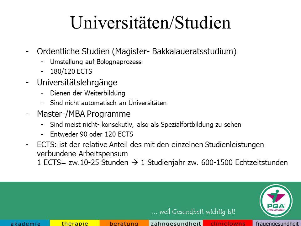 … weil Gesundheit wichtig ist! Universitäten/Studien -Ordentliche Studien (Magister- Bakkalaueratsstudium) -Umstellung auf Bolognaprozess -180/120 ECT