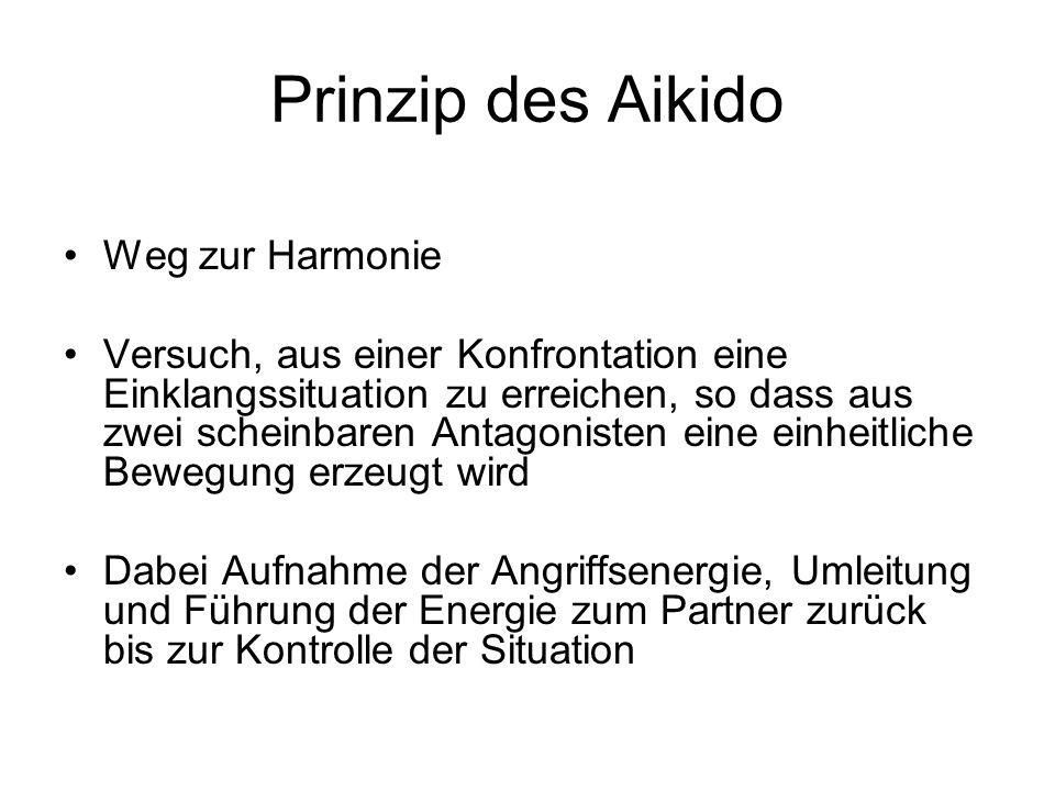 Prinzip des Aikido Weg zur Harmonie Versuch, aus einer Konfrontation eine Einklangssituation zu erreichen, so dass aus zwei scheinbaren Antagonisten e