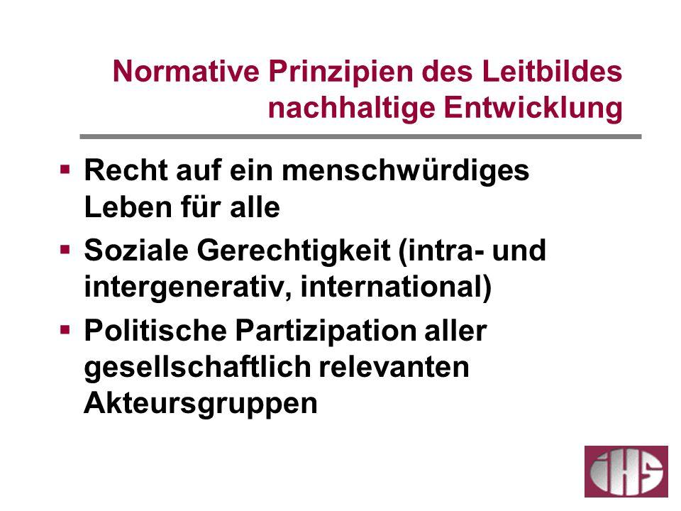 Normative Prinzipien des Leitbildes nachhaltige Entwicklung Recht auf ein menschwürdiges Leben für alle Soziale Gerechtigkeit (intra- und intergenerativ, international) Politische Partizipation aller gesellschaftlich relevanten Akteursgruppen