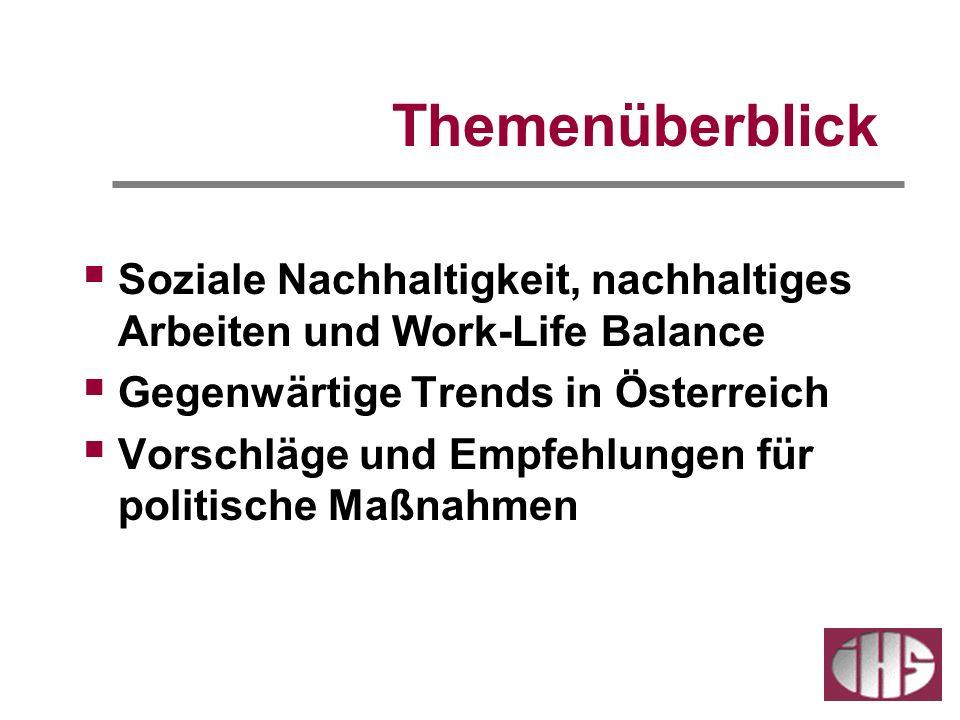 Themenüberblick Soziale Nachhaltigkeit, nachhaltiges Arbeiten und Work-Life Balance Gegenwärtige Trends in Österreich Vorschläge und Empfehlungen für