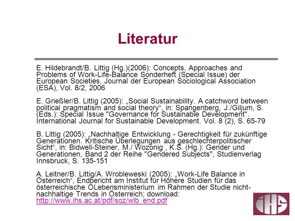 Literatur E. Hildebrandt/B. Littig (Hg.)(2006): Concepts, Approaches and Problems of Work-Life-Balance Sonderheft (Special Issue) der European Societi
