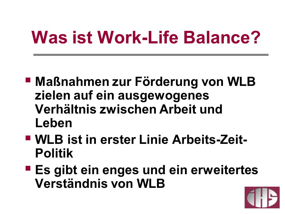 The Canadian Centre for Occupational Health and Safety ( http://www.ccohs.ca/oshanswers/psychosocial/worklife_balance.html,5/07): http://www.ccohs.ca/oshanswers/psychosocial/worklife_balance.html Simply put, work/life balance initiatives are any benefits, policies, or programs that help create a better balance between the demands of the job and the healthy management (and enjoyment) of life outside work.