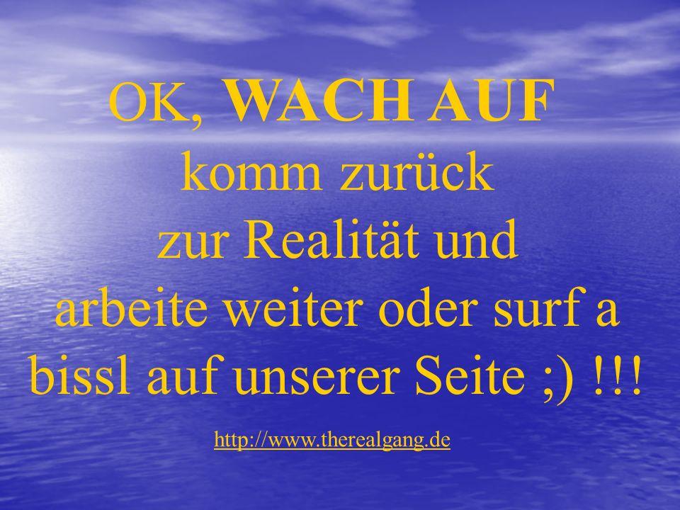 OK, WACH AUF komm zurück zur Realität und arbeite weiter oder surf a bissl auf unserer Seite ;) !!.
