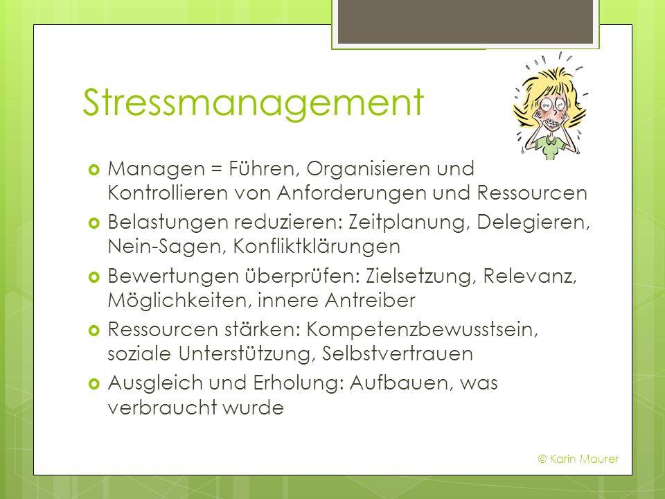 Stressmanagement Managen = Führen, Organisieren und Kontrollieren von Anforderungen und Ressourcen Belastungen reduzieren: Zeitplanung, Delegieren, Ne