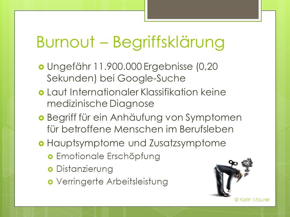 Burnout – Begriffsklärung Ungefähr 11.900.000 Ergebnisse (0,20 Sekunden) bei Google-Suche Laut Internationaler Klassifikation keine medizinische Diagn