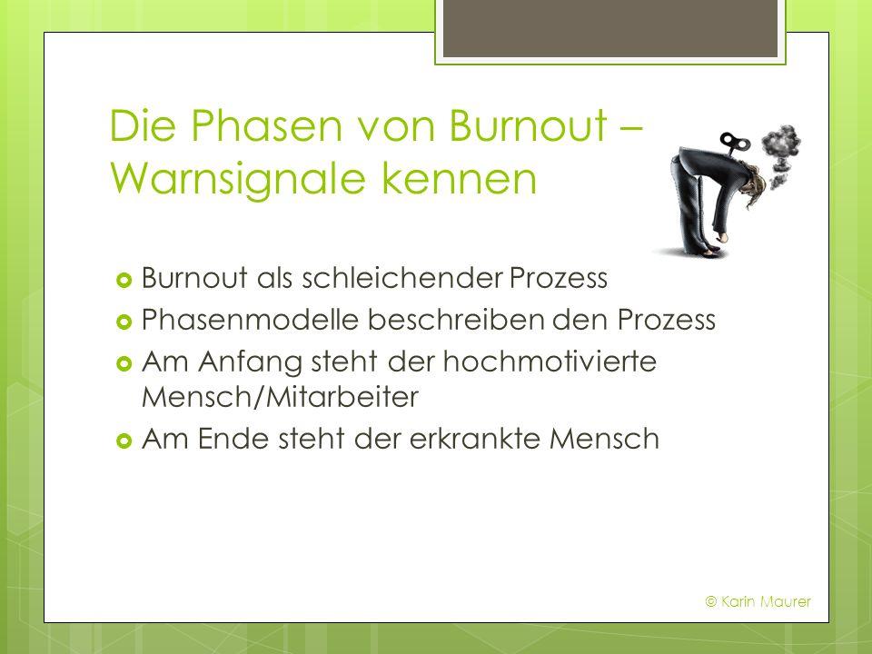 Die Phasen von Burnout – Warnsignale kennen Burnout als schleichender Prozess Phasenmodelle beschreiben den Prozess Am Anfang steht der hochmotivierte Mensch/Mitarbeiter Am Ende steht der erkrankte Mensch © Karin Maurer
