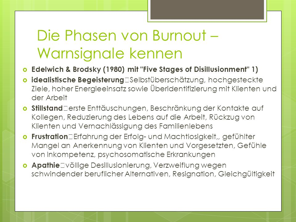 Die Phasen von Burnout – Warnsignale kennen Edelwich & Brodsky (1980) mit