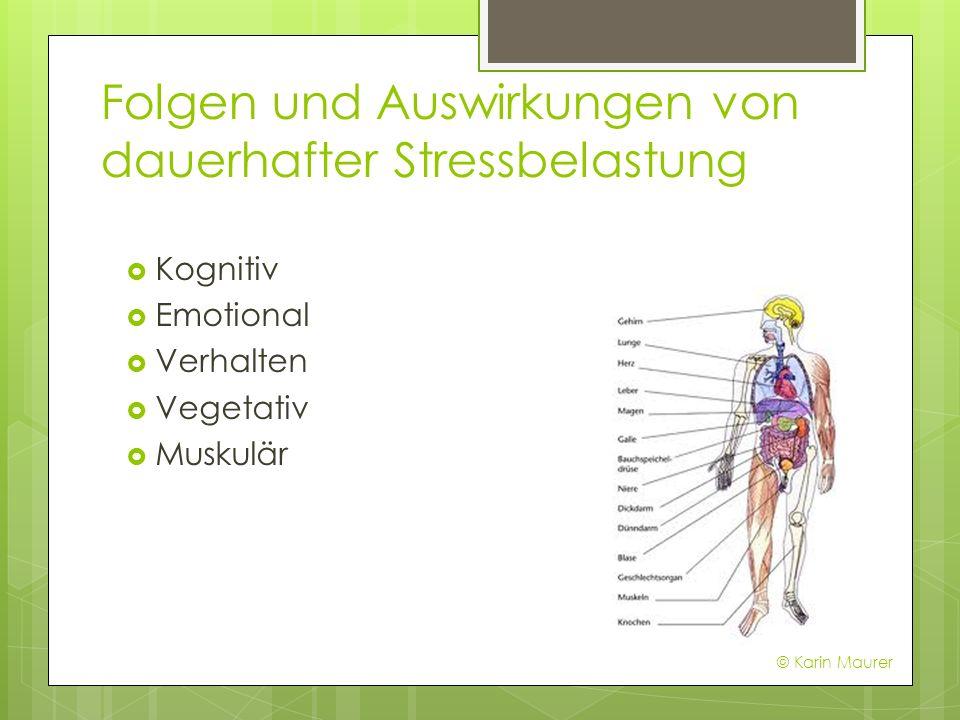 Folgen und Auswirkungen von dauerhafter Stressbelastung Kognitiv Emotional Verhalten Vegetativ Muskulär © Karin Maurer