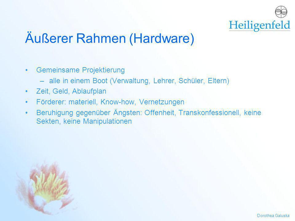 Dorothea Galuska Äußerer Rahmen (Hardware) Gemeinsame Projektierung –alle in einem Boot (Verwaltung, Lehrer, Schüler, Eltern) Zeit, Geld, Ablaufplan F