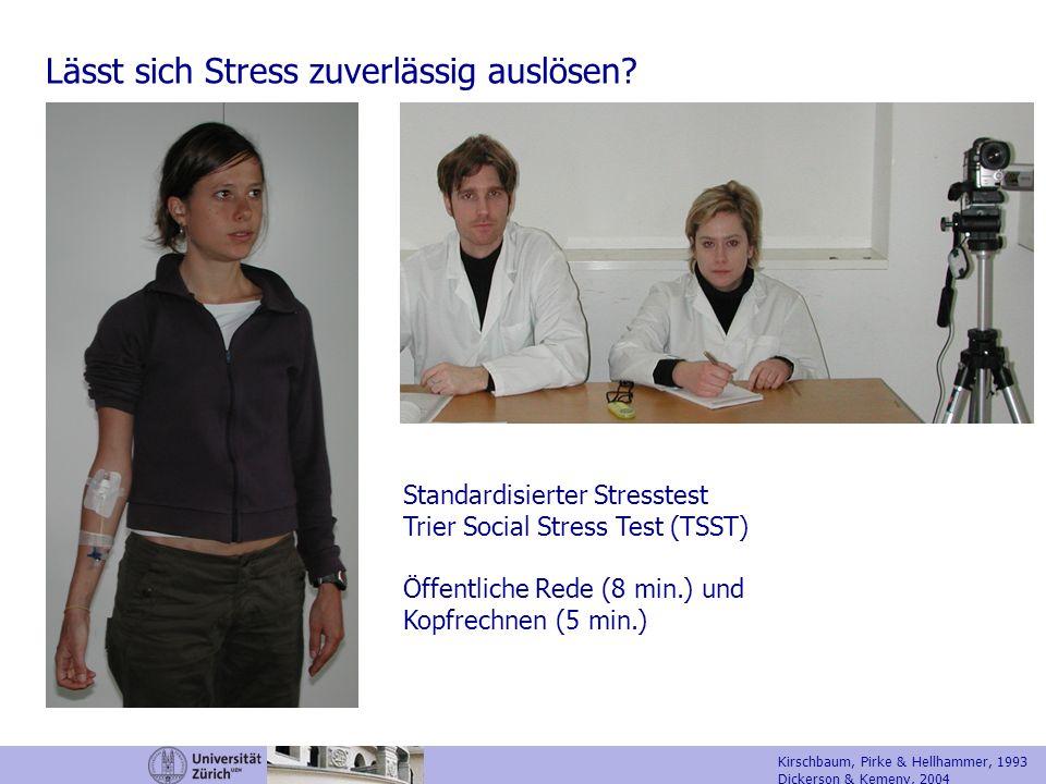 Lässt sich Stress zuverlässig auslösen? Standardisierter Stresstest Trier Social Stress Test (TSST) Öffentliche Rede (8 min.) und Kopfrechnen (5 min.)