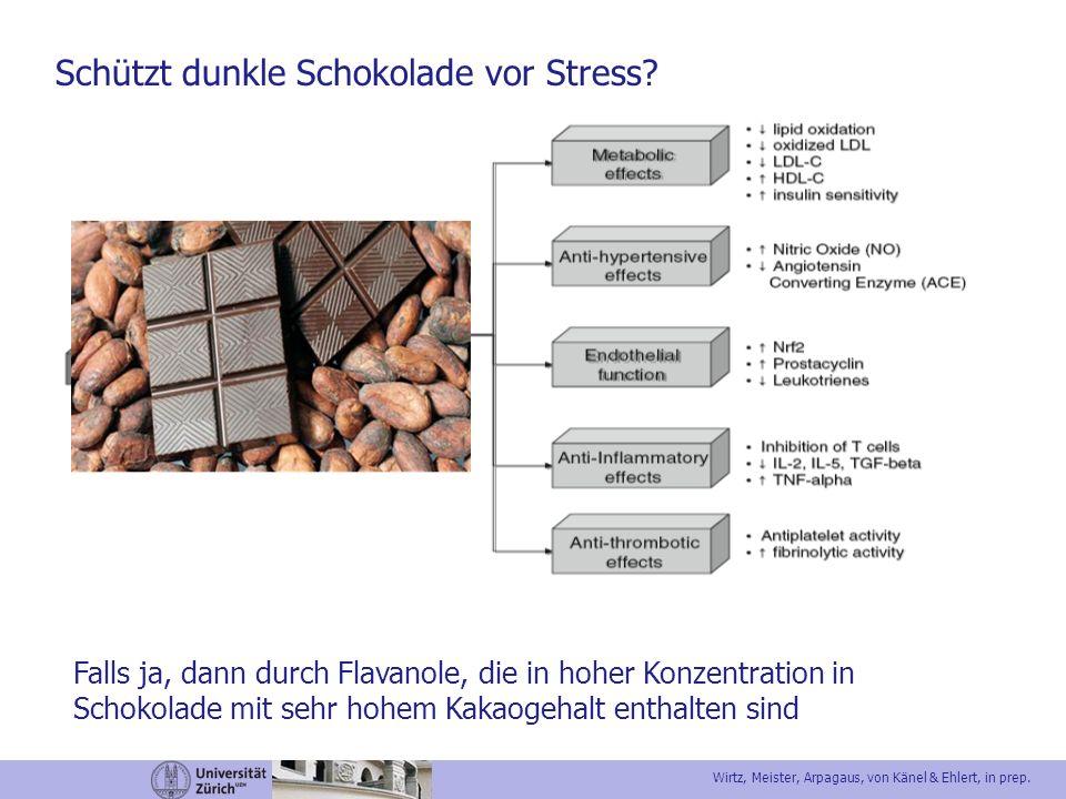 Schützt dunkle Schokolade vor Stress? Falls ja, dann durch Flavanole, die in hoher Konzentration in Schokolade mit sehr hohem Kakaogehalt enthalten si