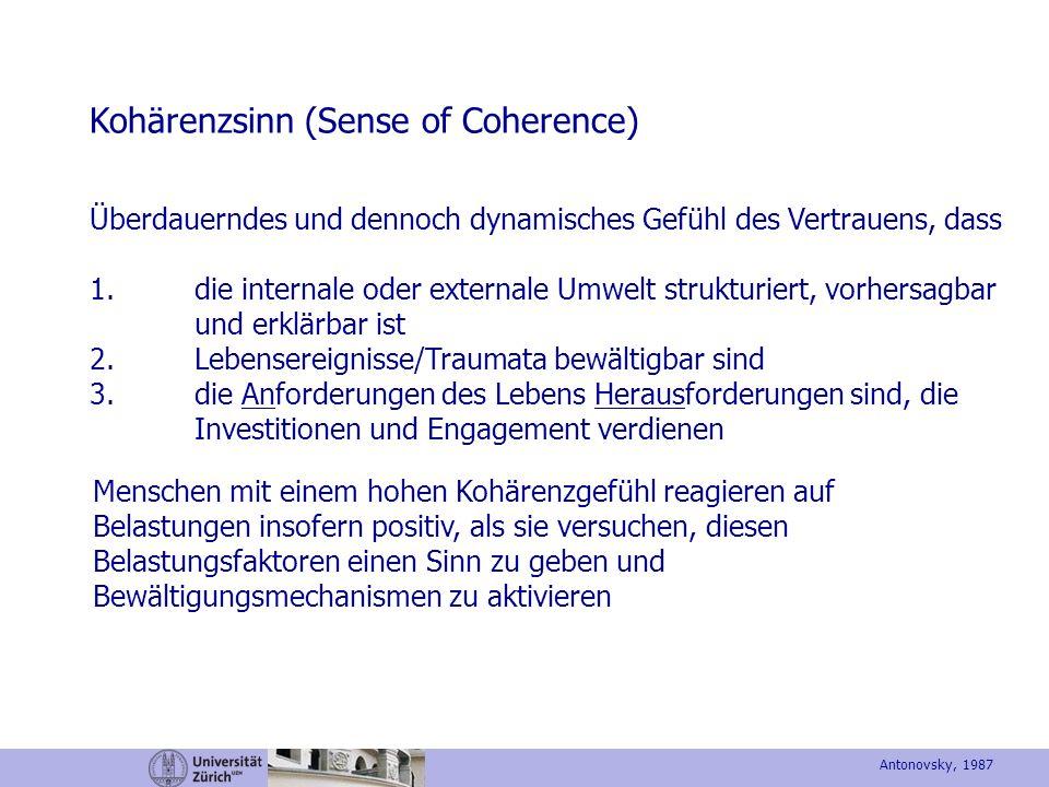 Kohärenzsinn (Sense of Coherence) Überdauerndes und dennoch dynamisches Gefühl des Vertrauens, dass 1.die internale oder externale Umwelt strukturiert