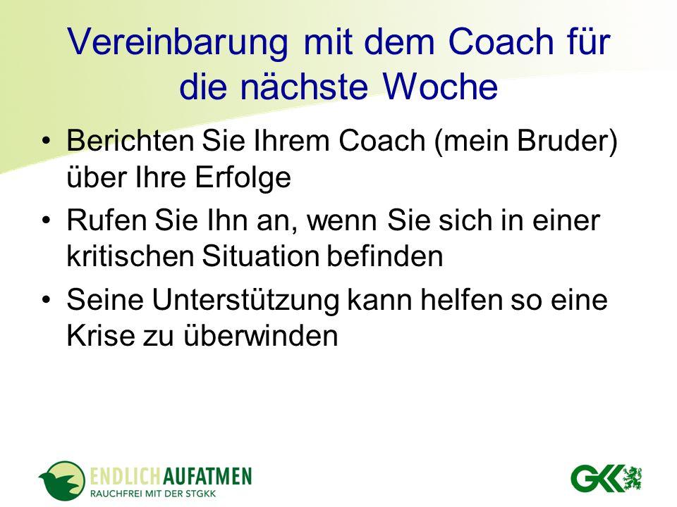 Vereinbarung mit dem Coach für die nächste Woche Berichten Sie Ihrem Coach (mein Bruder) über Ihre Erfolge Rufen Sie Ihn an, wenn Sie sich in einer kr