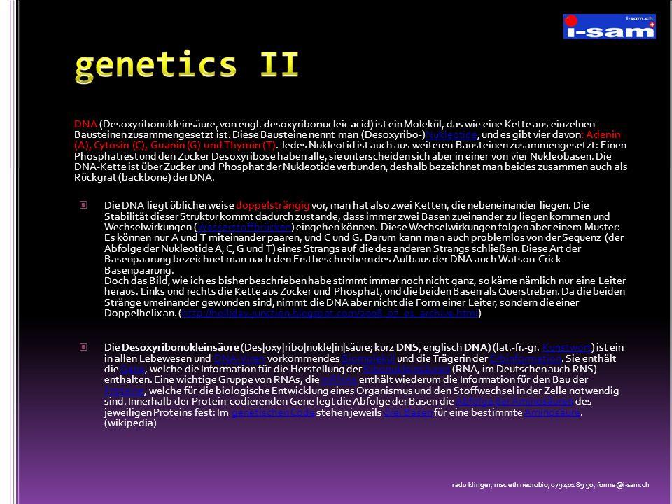 DNA (Desoxyribonukleinsäure, von engl. desoxyribonucleic acid) ist ein Molekül, das wie eine Kette aus einzelnen Bausteinen zusammengesetzt ist. Diese