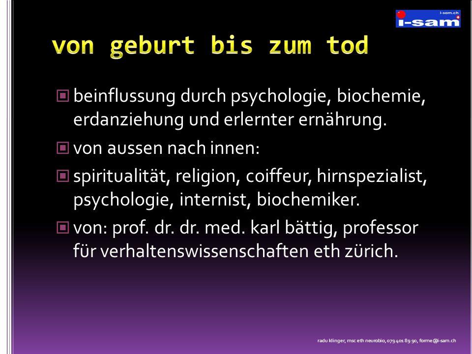 beinflussung durch psychologie, biochemie, erdanziehung und erlernter ernährung. von aussen nach innen: spiritualität, religion, coiffeur, hirnspezial