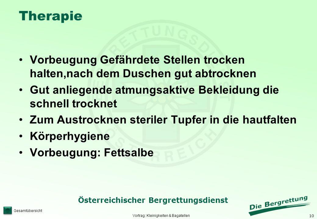 10 Österreichischer Bergrettungsdienst Gesamtübersicht Therapie Vorbeugung Gefährdete Stellen trocken halten,nach dem Duschen gut abtrocknen Gut anlie