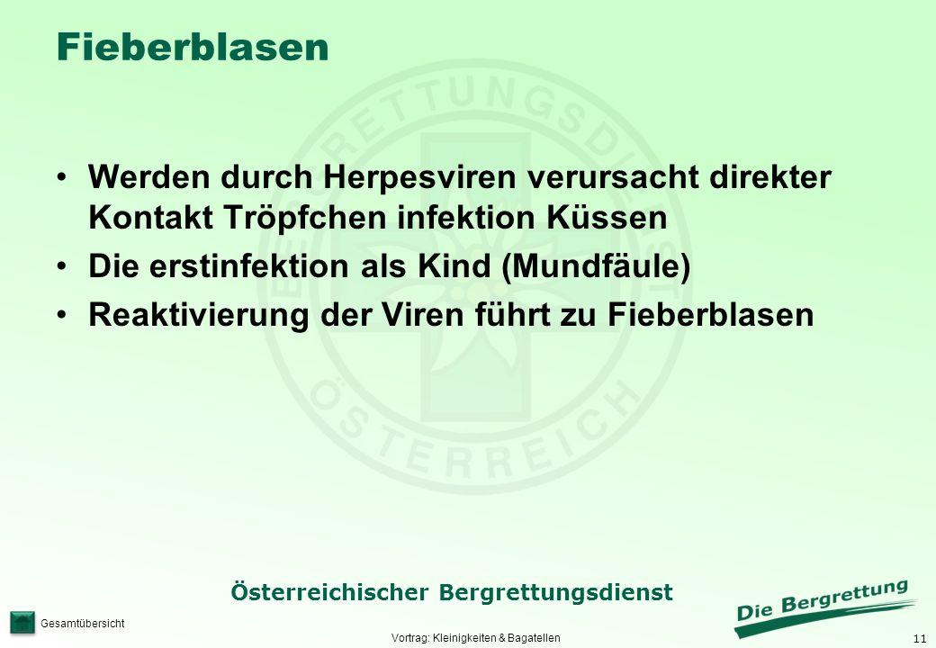 11 Österreichischer Bergrettungsdienst Gesamtübersicht Fieberblasen Werden durch Herpesviren verursacht direkter Kontakt Tröpfchen infektion Küssen Di