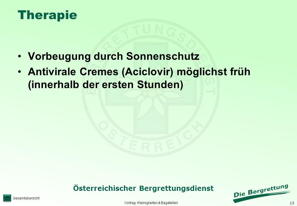 13 Österreichischer Bergrettungsdienst Gesamtübersicht Therapie Vorbeugung durch Sonnenschutz Antivirale Cremes (Aciclovir) möglichst früh (innerhalb