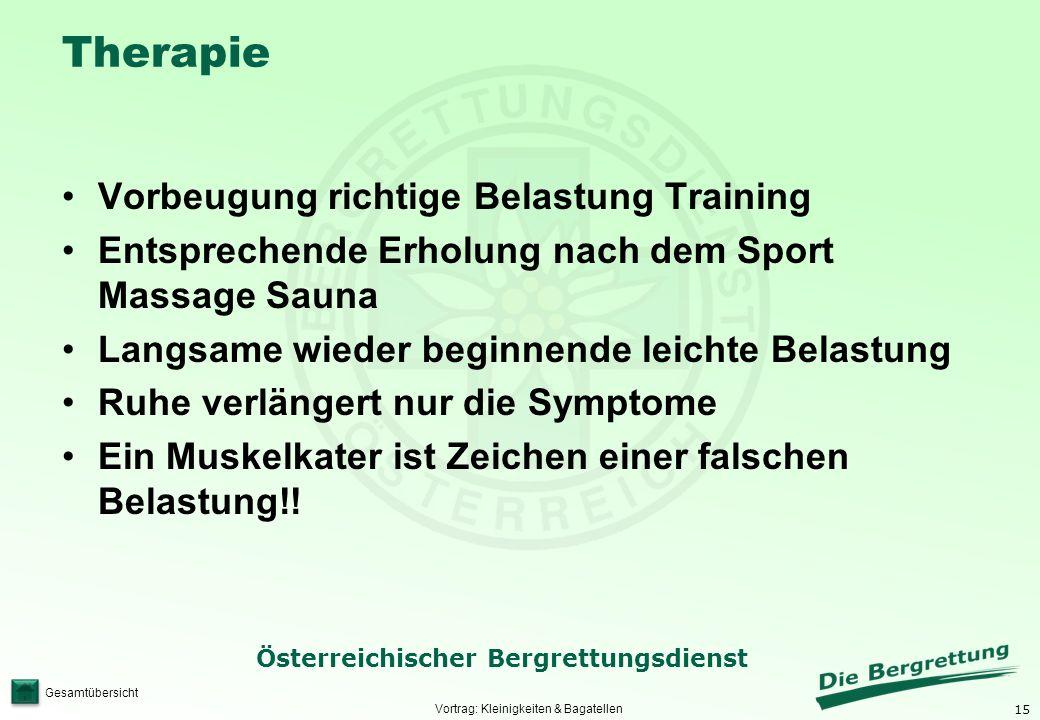 15 Österreichischer Bergrettungsdienst Gesamtübersicht Therapie Vorbeugung richtige Belastung Training Entsprechende Erholung nach dem Sport Massage S