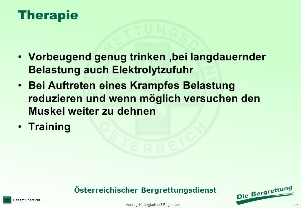 17 Österreichischer Bergrettungsdienst Gesamtübersicht Therapie Vorbeugend genug trinken,bei langdauernder Belastung auch Elektrolytzufuhr Bei Auftret