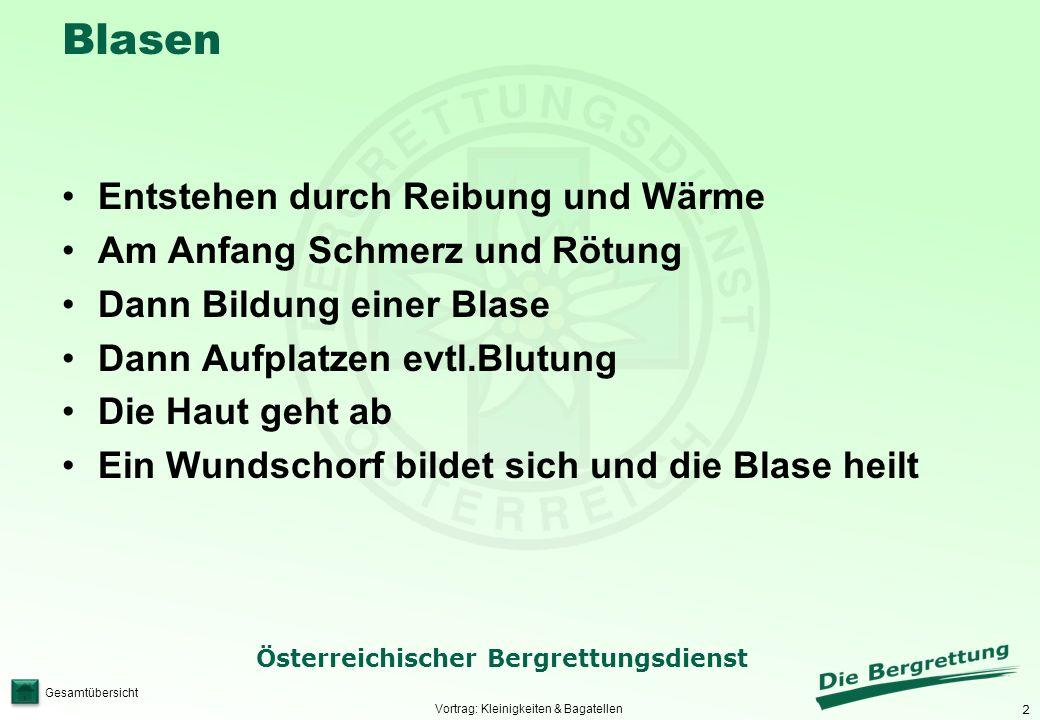 2 Österreichischer Bergrettungsdienst Gesamtübersicht Blasen Vortrag: Kleinigkeiten & Bagatellen Entstehen durch Reibung und Wärme Am Anfang Schmerz u