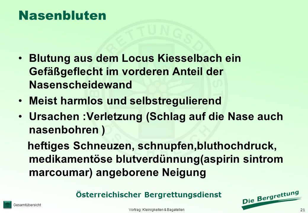 21 Österreichischer Bergrettungsdienst Gesamtübersicht Nasenbluten Blutung aus dem Locus Kiesselbach ein Gefäßgeflecht im vorderen Anteil der Nasensch