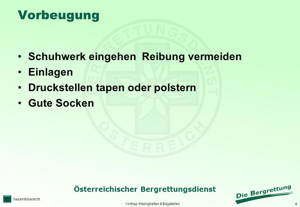 4 Österreichischer Bergrettungsdienst Gesamtübersicht Vorbeugung Schuhwerk eingehen Reibung vermeiden Einlagen Druckstellen tapen oder polstern Gute S