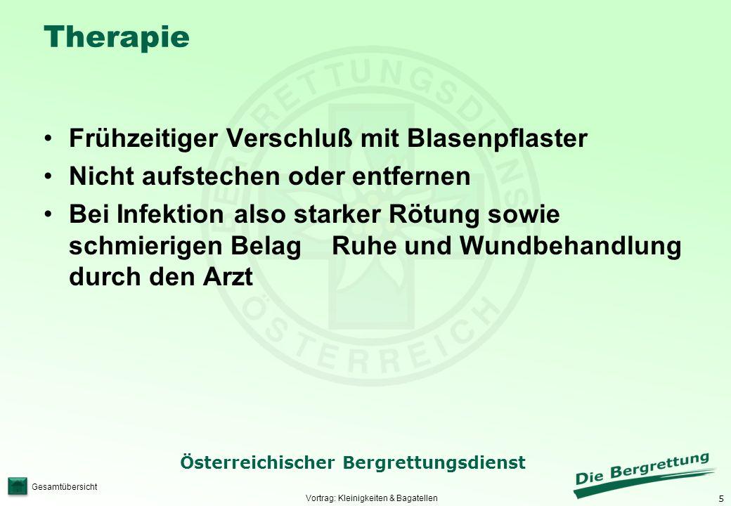 5 Österreichischer Bergrettungsdienst Gesamtübersicht Therapie Frühzeitiger Verschluß mit Blasenpflaster Nicht aufstechen oder entfernen Bei Infektion