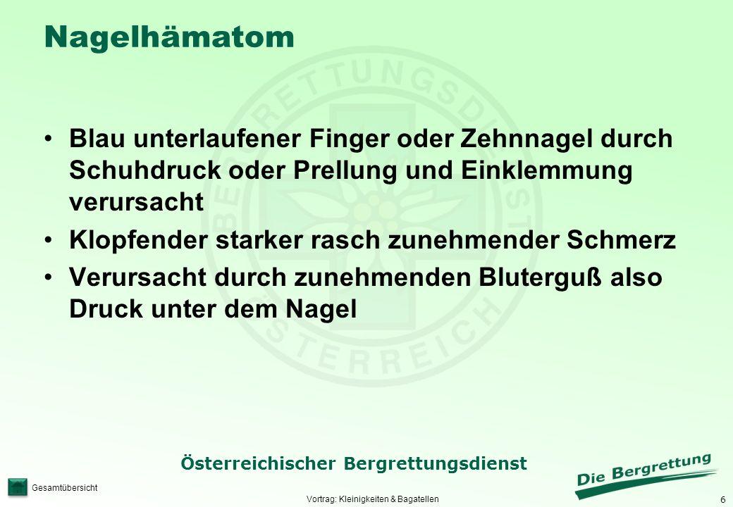 6 Österreichischer Bergrettungsdienst Gesamtübersicht Nagelhämatom Blau unterlaufener Finger oder Zehnnagel durch Schuhdruck oder Prellung und Einklem