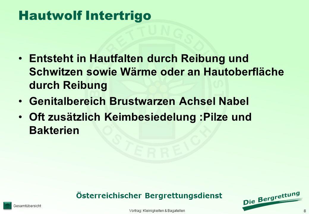 8 Österreichischer Bergrettungsdienst Gesamtübersicht Hautwolf Intertrigo Entsteht in Hautfalten durch Reibung und Schwitzen sowie Wärme oder an Hauto