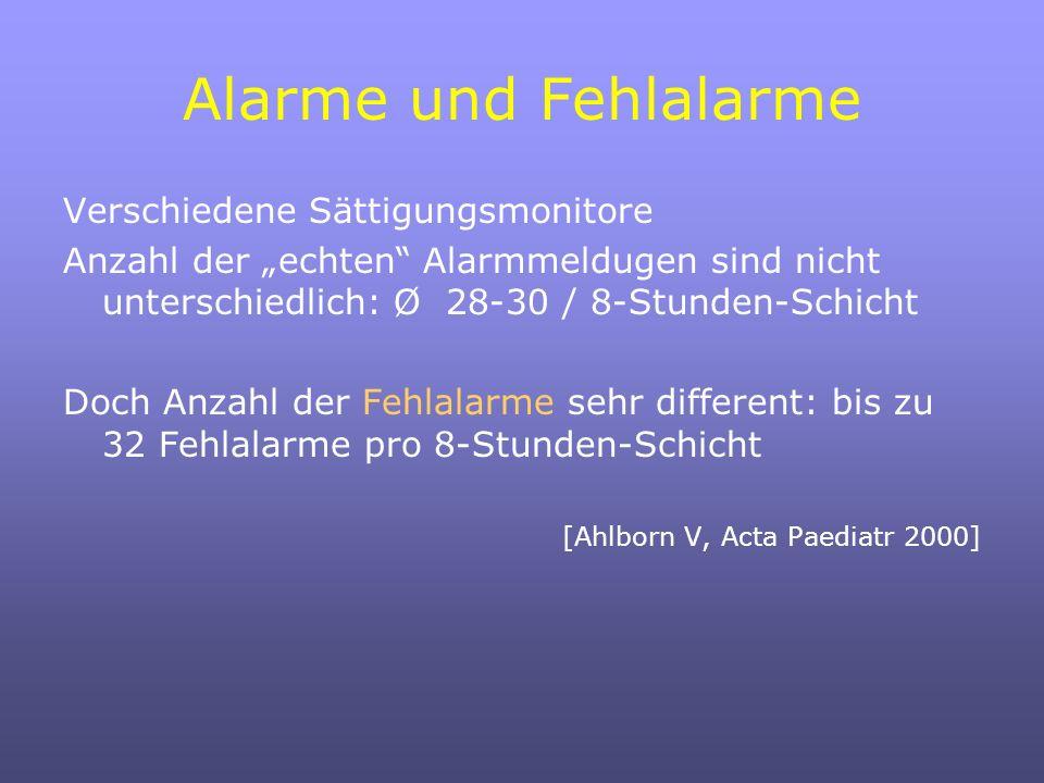 Alarme und Fehlalarme Verschiedene Sättigungsmonitore Anzahl der echten Alarmmeldugen sind nicht unterschiedlich: Ø 28-30 / 8-Stunden-Schicht Doch Anzahl der Fehlalarme sehr different: bis zu 32 Fehlalarme pro 8-Stunden-Schicht [Ahlborn V, Acta Paediatr 2000]
