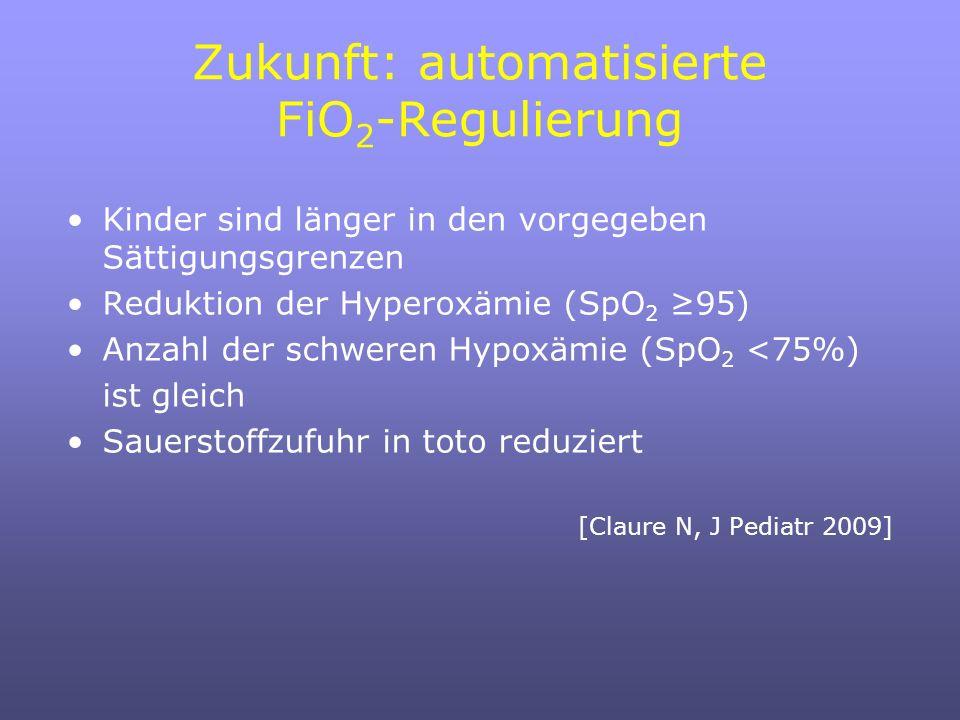 Zukunft: automatisierte FiO 2 -Regulierung Kinder sind länger in den vorgegeben Sättigungsgrenzen Reduktion der Hyperoxämie (SpO 2 95) Anzahl der schweren Hypoxämie (SpO 2 <75%) ist gleich Sauerstoffzufuhr in toto reduziert [Claure N, J Pediatr 2009]