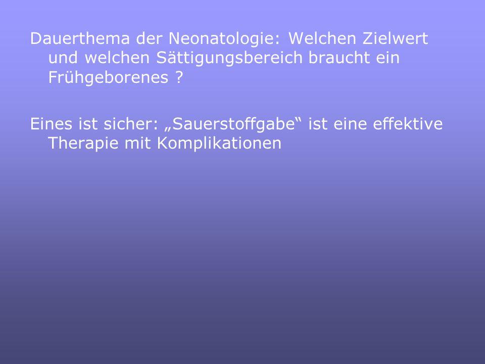 Dauerthema der Neonatologie: Welchen Zielwert und welchen Sättigungsbereich braucht ein Frühgeborenes .
