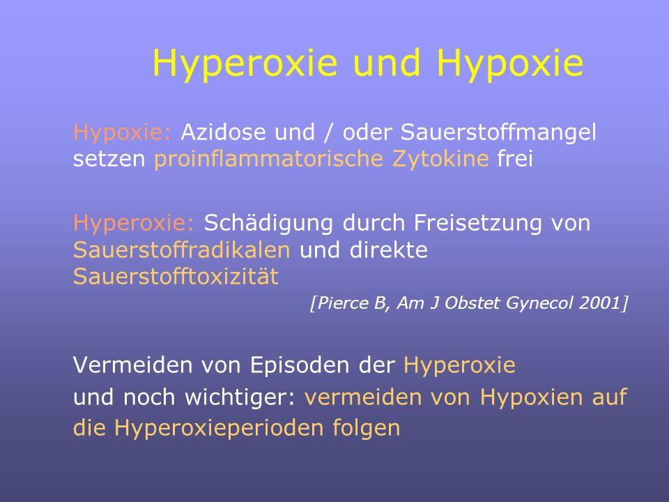 Hyperoxie und Hypoxie Hypoxie: Azidose und / oder Sauerstoffmangel setzen proinflammatorische Zytokine frei Hyperoxie: Schädigung durch Freisetzung von Sauerstoffradikalen und direkte Sauerstofftoxizität [Pierce B, Am J Obstet Gynecol 2001] Vermeiden von Episoden der Hyperoxie und noch wichtiger: vermeiden von Hypoxien auf die Hyperoxieperioden folgen