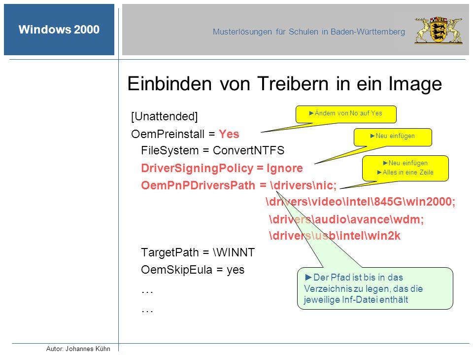 Windows 2000 Musterlösungen für Schulen in Baden-Württemberg [Unattended] OemPreinstall = Yes FileSystem = ConvertNTFS DriverSigningPolicy = Ignore Oe