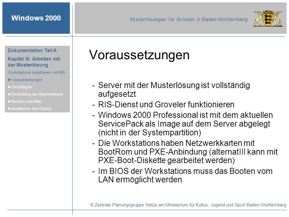 Windows 2000 Musterlösungen für Schulen in Baden-Württemberg Voraussetzungen -Server mit der Musterlösung ist vollständig aufgesetzt -RIS-Dienst und G