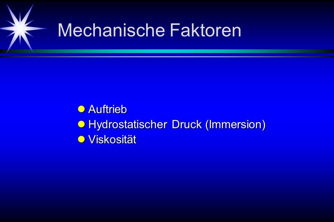 Mechanische Faktoren Auftrieb Auftrieb Hydrostatischer Druck (Immersion) Hydrostatischer Druck (Immersion) Viskosität Viskosität