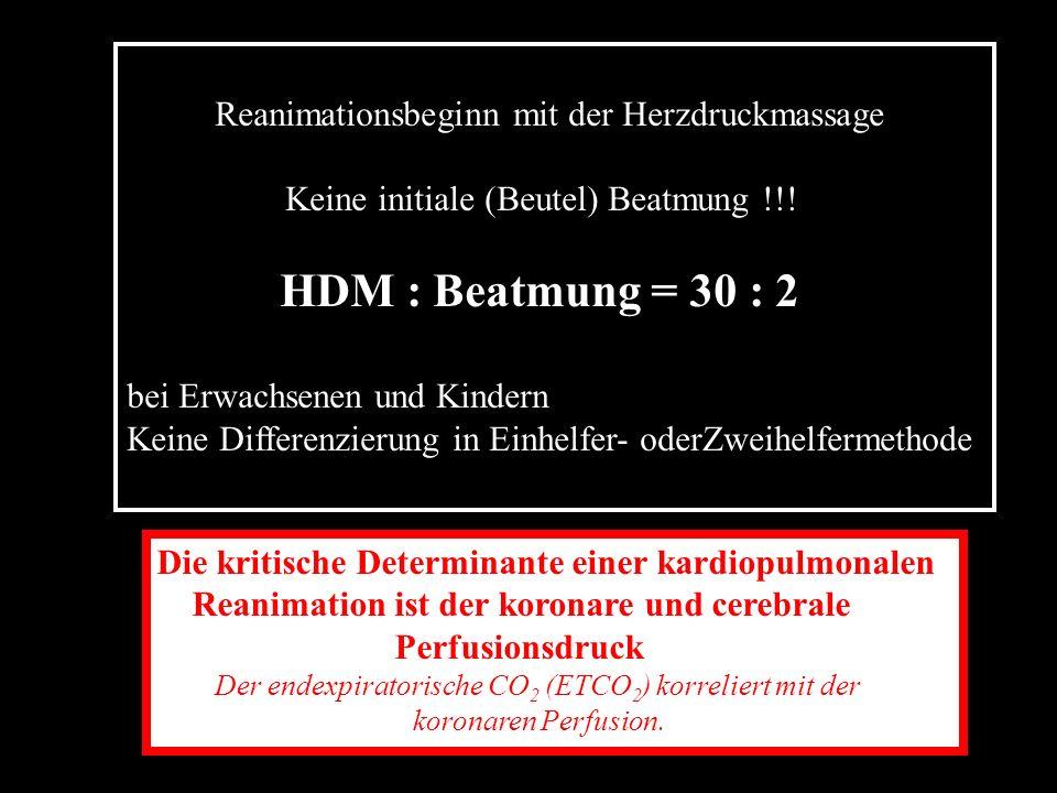 HDM : Beatmung = 30 : 2 wichtig ist nicht der Druckpuls sondern der Blutfluß Kernaussage vom ILCOR 2005 No-Flow-Time < 15 sec