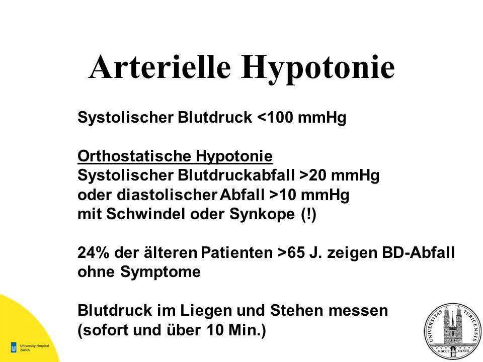 Systolischer Blutdruck <100 mmHg Orthostatische Hypotonie Systolischer Blutdruckabfall >20 mmHg oder diastolischer Abfall >10 mmHg mit Schwindel oder