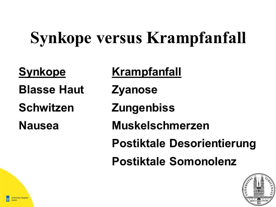SynkopeKrampfanfall Blasse HautZyanose SchwitzenZungenbiss NauseaMuskelschmerzen Postiktale Desorientierung Postiktale Somonolenz Synkope versus Kramp