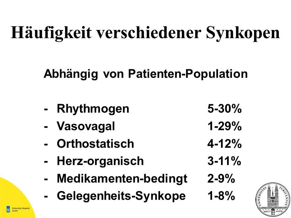 Abhängig von Patienten-Population -Rhythmogen5-30% -Vasovagal1-29% -Orthostatisch4-12% -Herz-organisch3-11% -Medikamenten-bedingt2-9% -Gelegenheits-Sy